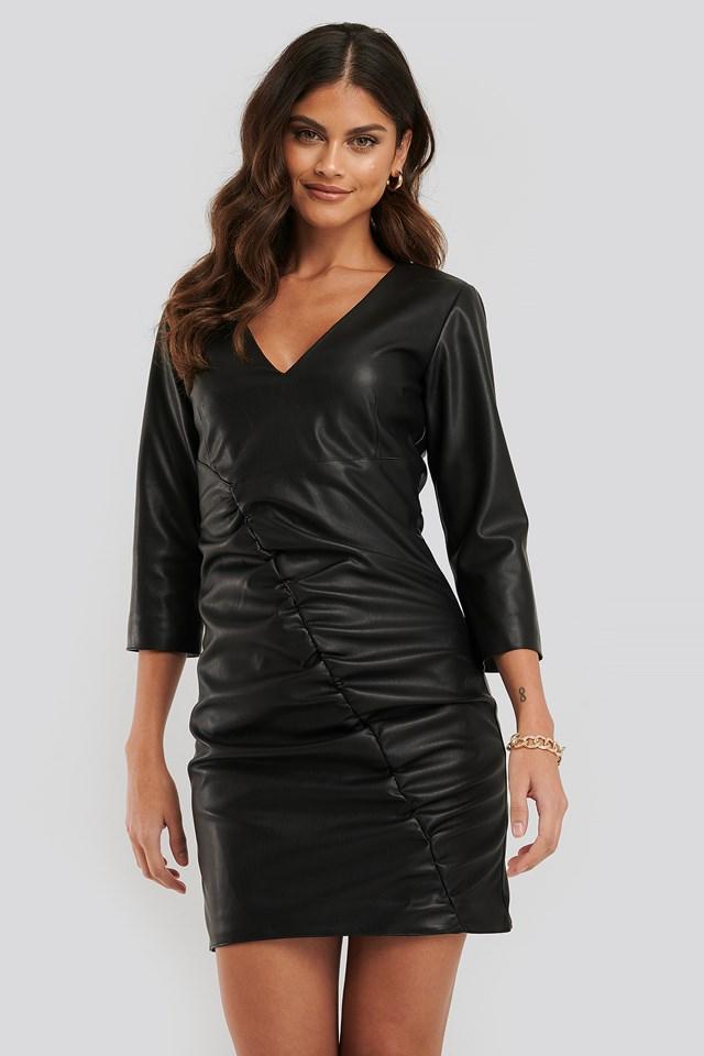 Rouched Pu Mini Dress Black