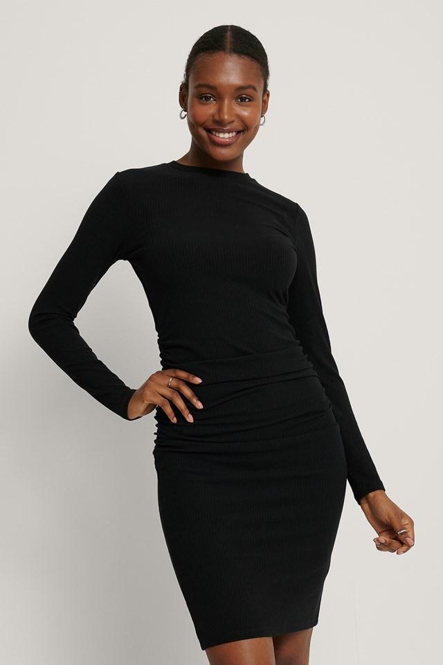 Rouched Rib Dress Black