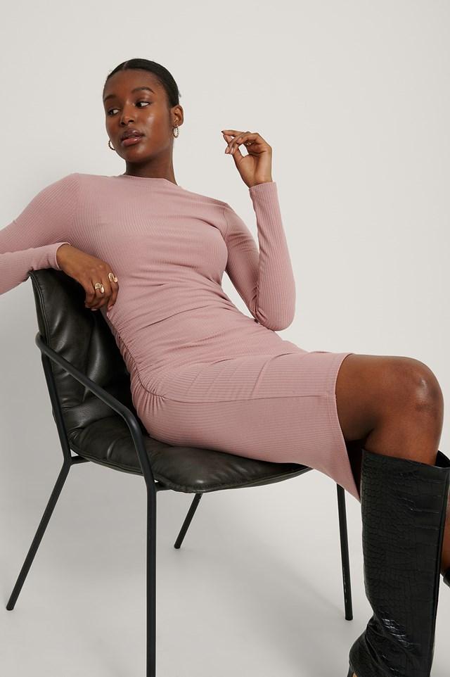 Rouched Rib Dress Dusty Dark Pink