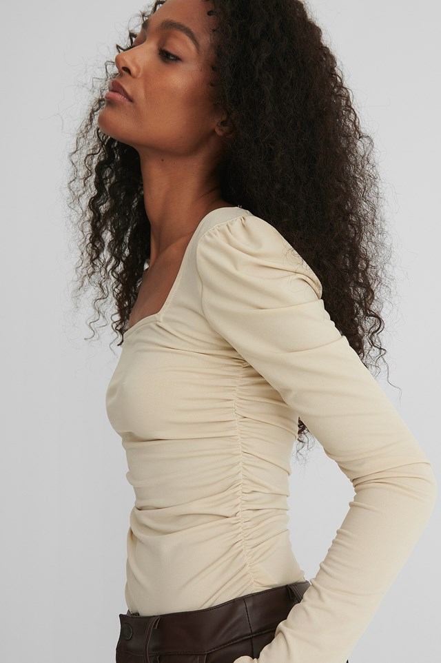 Rouched Square Neck Top Beige