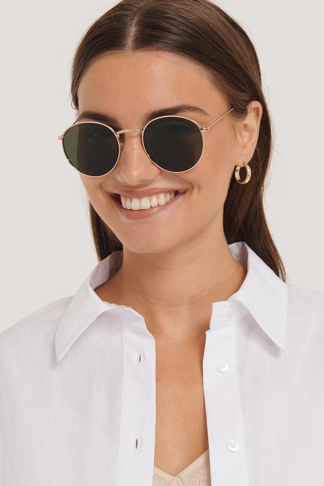 Round Metal Sunglasses Gold/Green