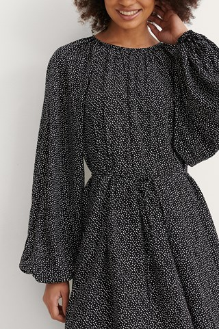 Polkadot Black/White Round Neck Belted Flowy Dress