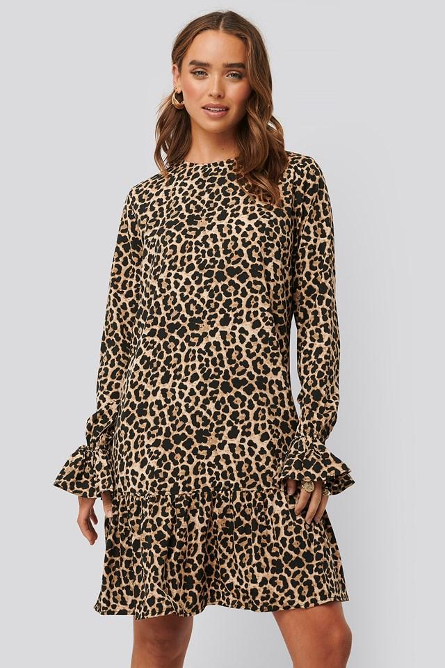 Round Neck Flounce Mini Dress Leo