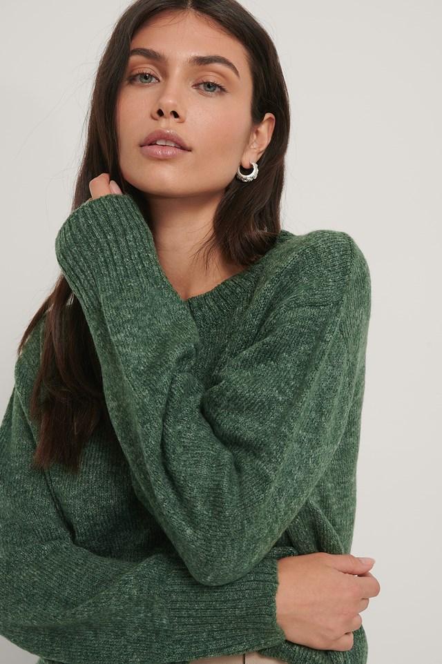 Round Neck Knitted Sweater Dark Green