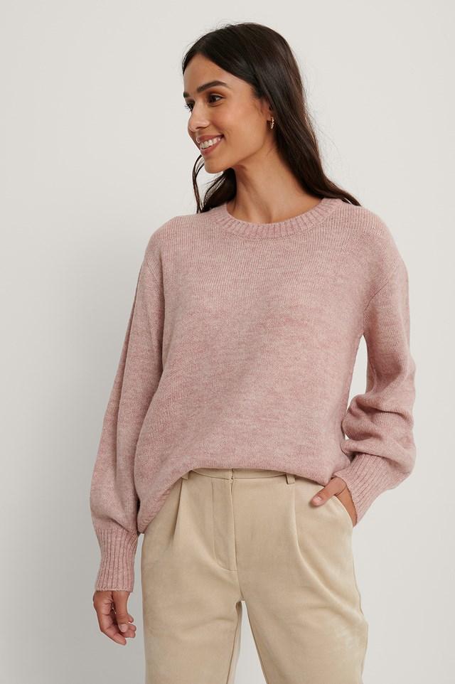 Round Neck Knitted Sweater Pink Melange