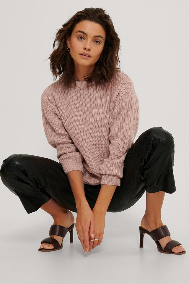 Round Neck Knitted Sweater Dusty Pink