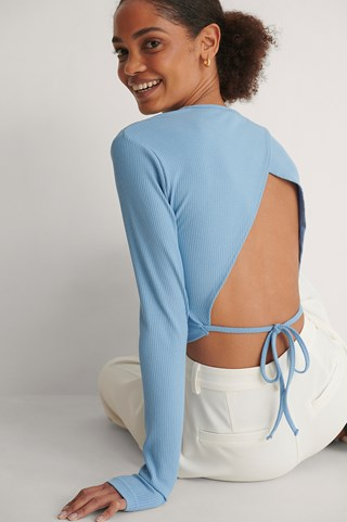 Blue Round Neck Open Back Top