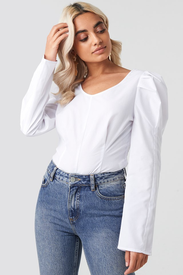 Round Neck Puff Sleeve Blouse NA-KD Trend
