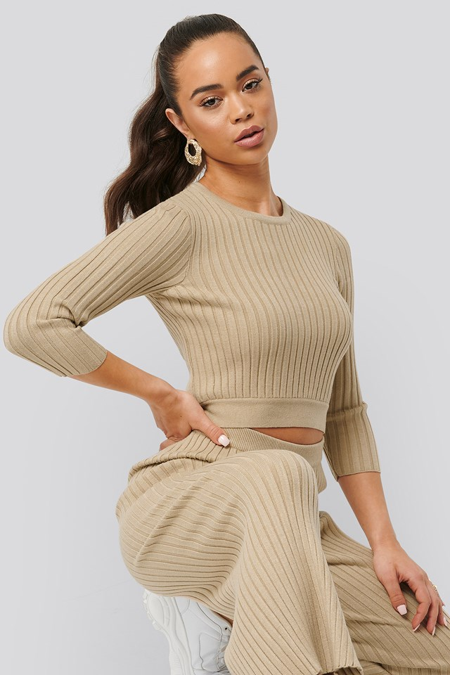 Round Neck Ribbed Knitted Sweater NA-KD