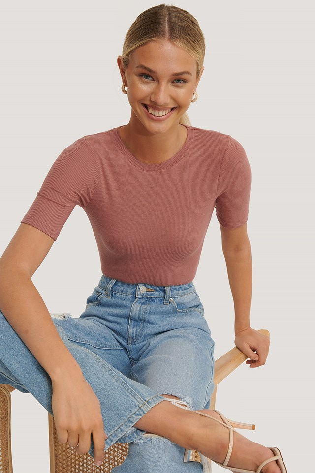 Round Neck Ribbed Top Dusty Rose