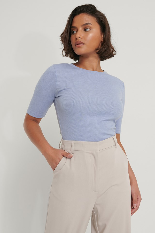 Round Neck Ribbed Top Stone Blue