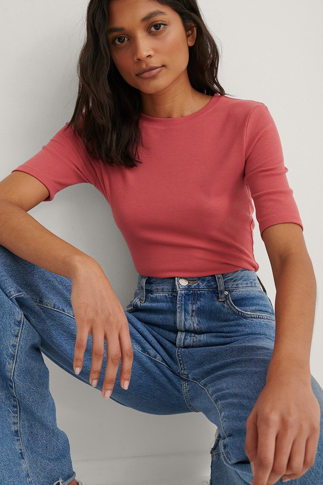 Washed Red Round Neck Ribbed Top
