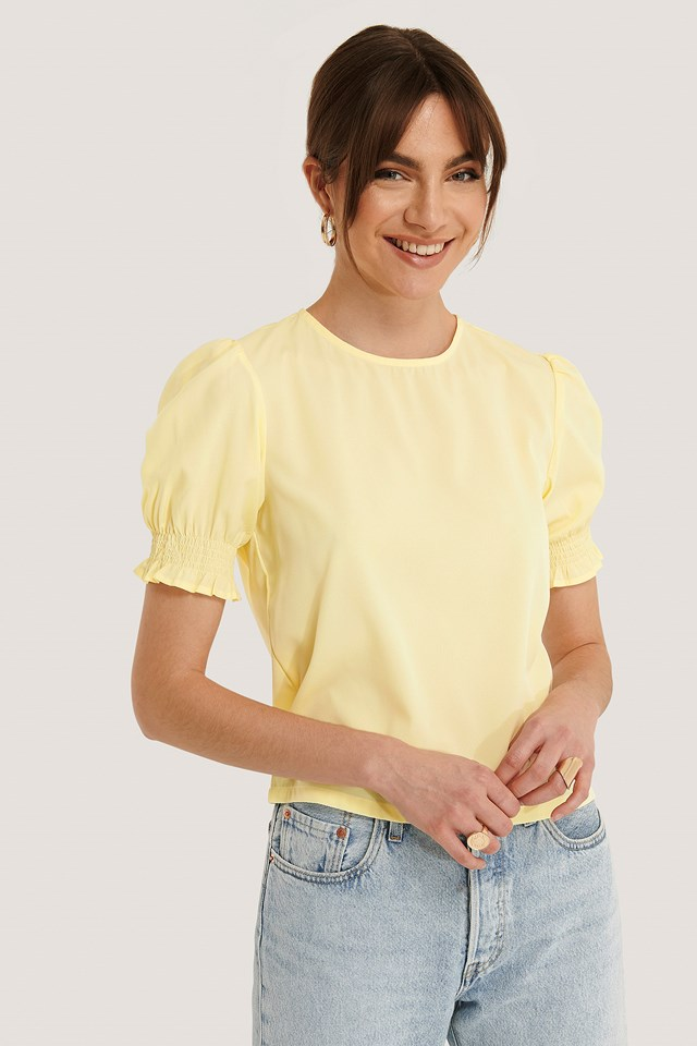 Round Neck Shirred Sleeve Top Light Yellow