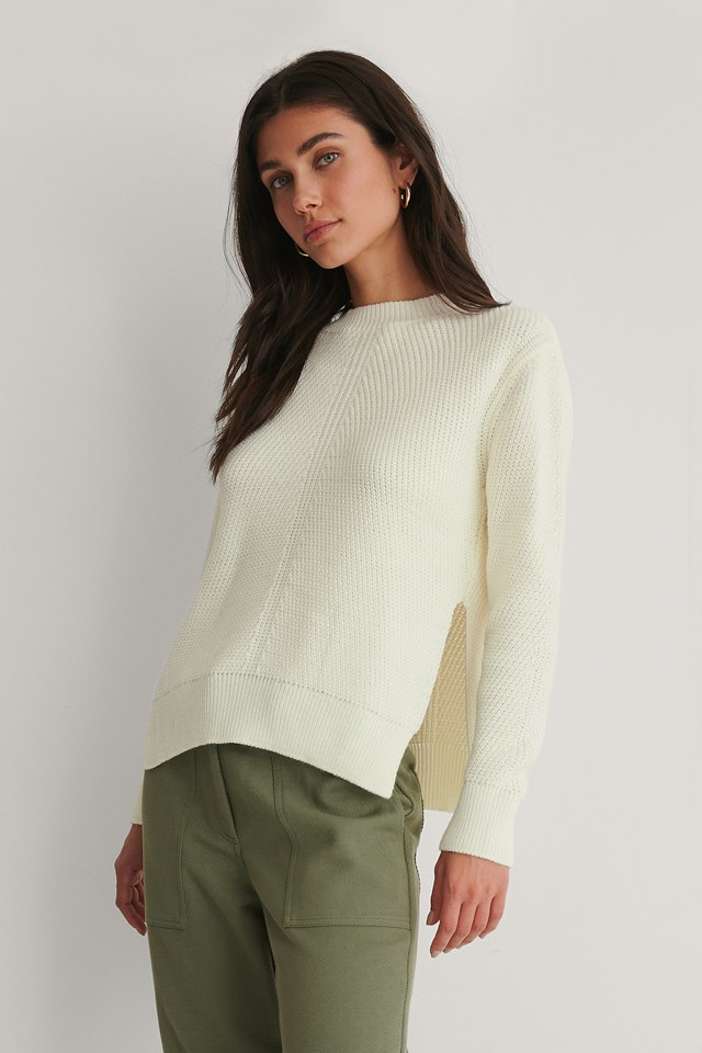 Round Neck Side Slit Knitted Sweater White
