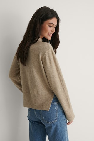 Beige Round Neck Side Slit Knitted Sweater