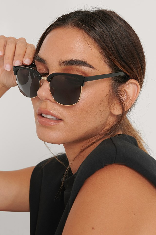 Rounded Over Frame Sunglasses Black