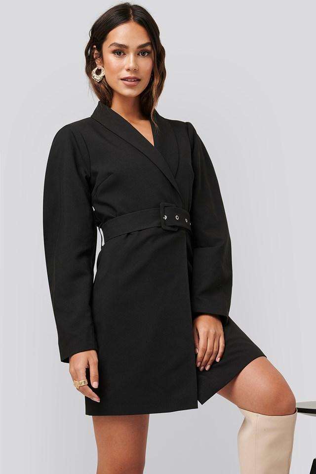 Rounded Sleeve Blazer Dress Black