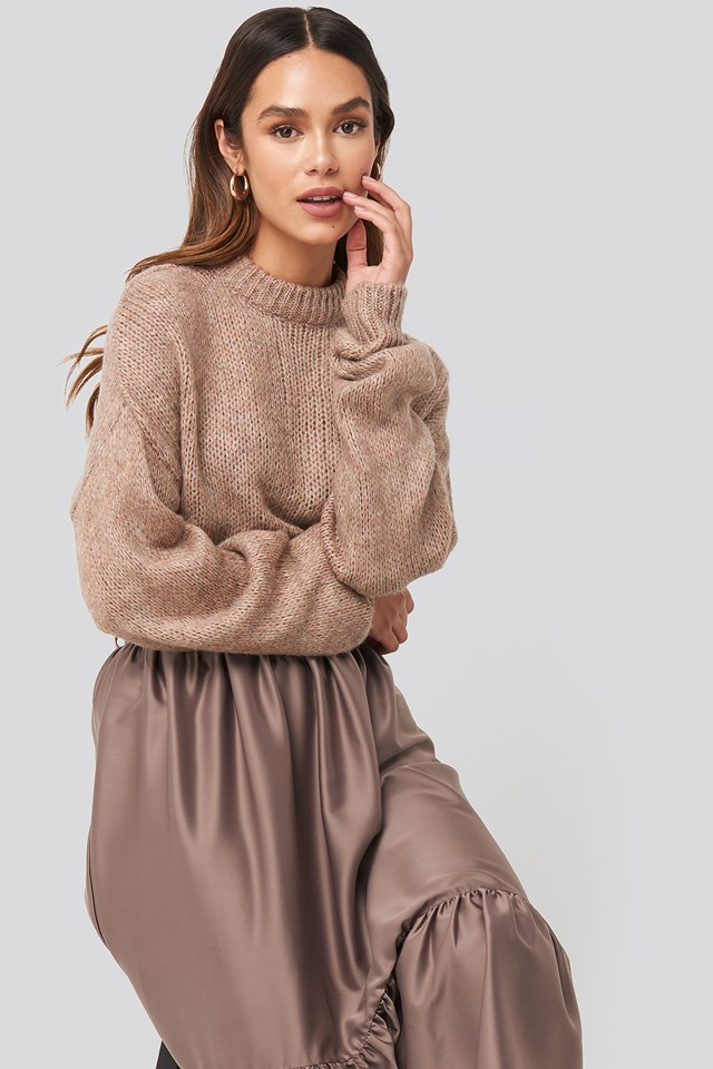 Round Neck Oversized Knitted Sweater Dusty Pink