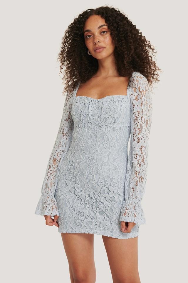 Ruched Mini Lace Dress Dusty Light blue