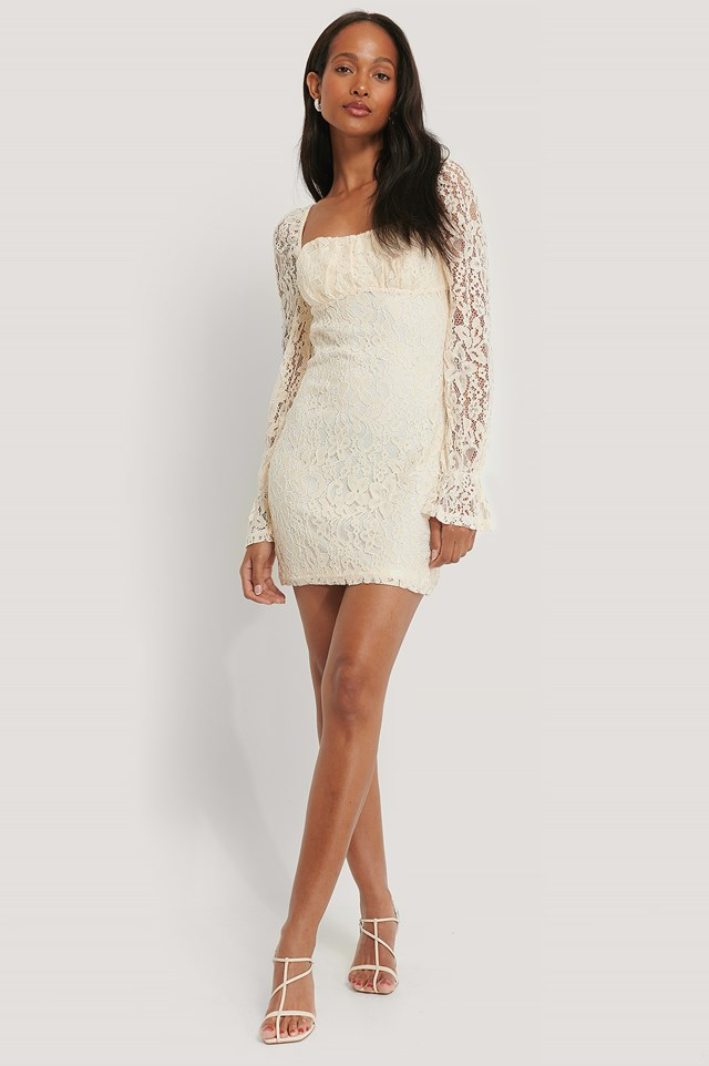 Ruched Mini Lace Dress Off White
