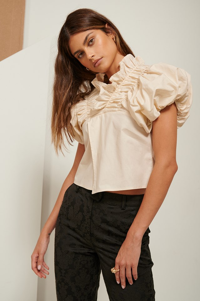 Ruffle Neck Cotton Blouse Sand