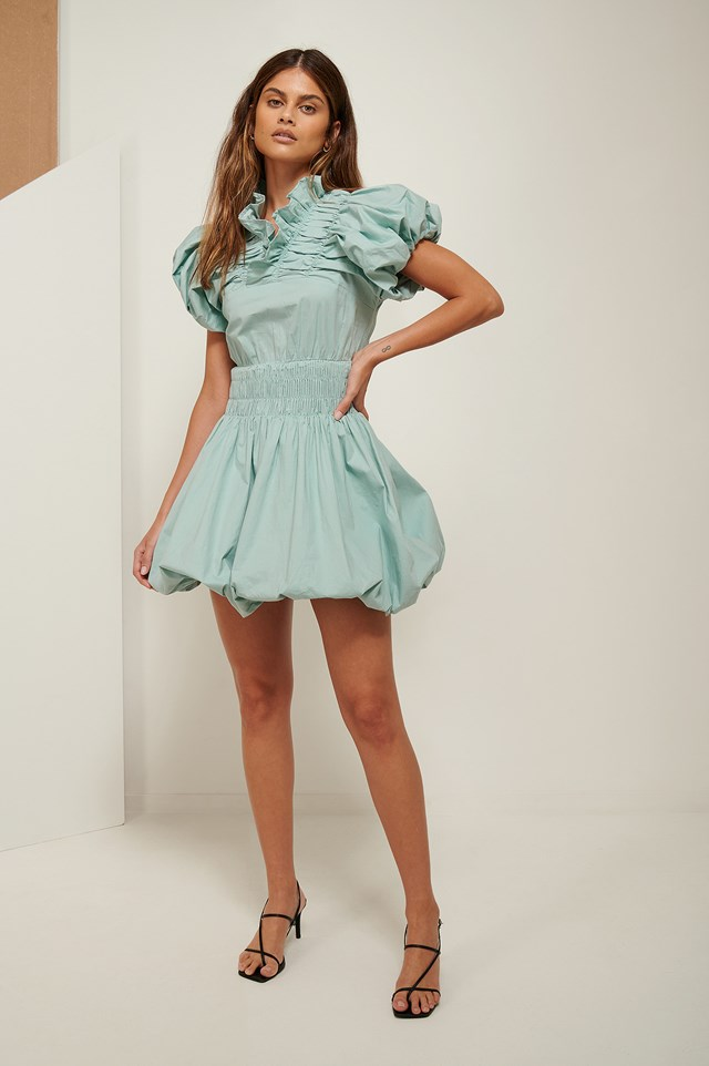 Ruffle Neck Mini Dress Blue Green