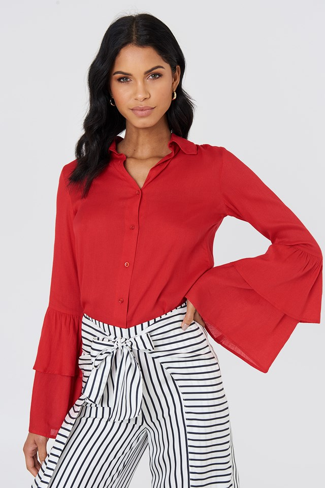 Ruffle Sleeve Shirt Red