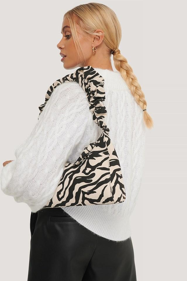Ruffle Strap Baguette Bag Zebra