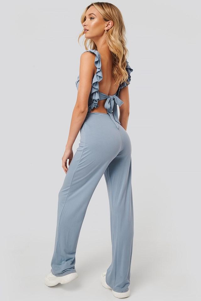Ruffle Strap Jersey Jumpsuit Blue