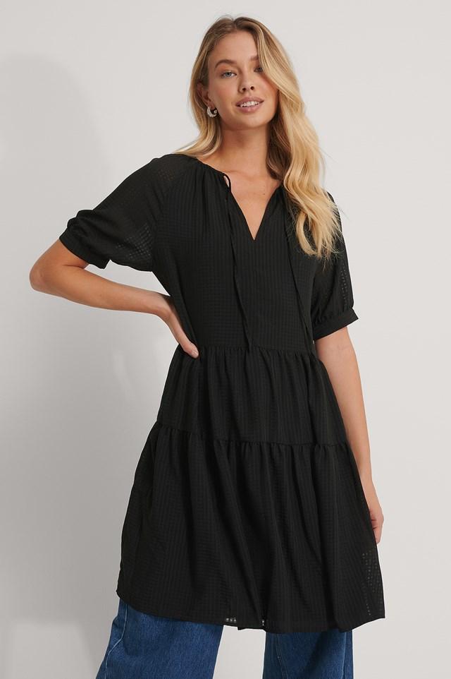 Ruffled V-Neck Mini Dress Black