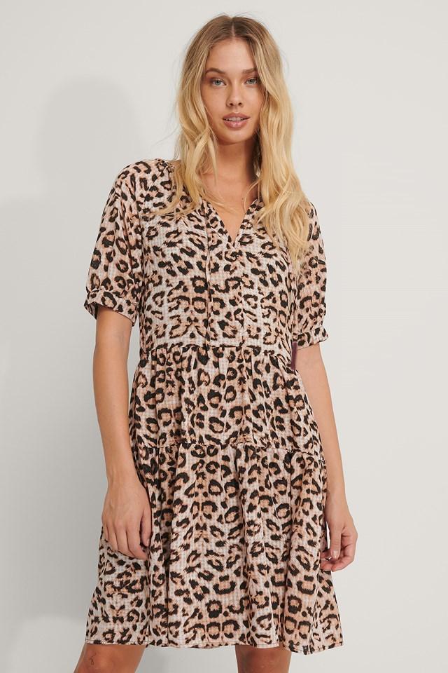 Ruffled V-Neck Mini Dress Leopard