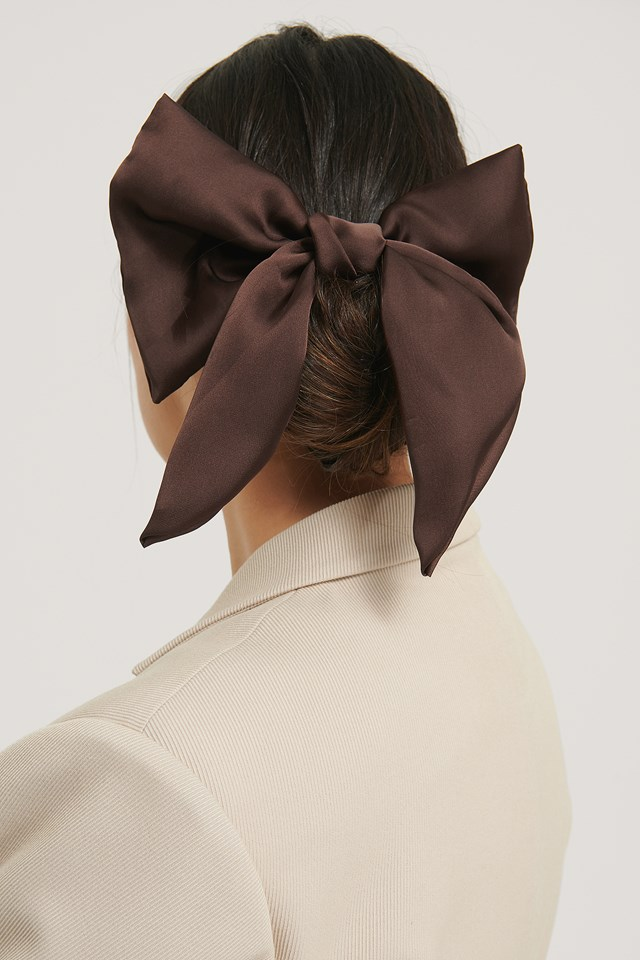 Satin Bow Hairclip Brown