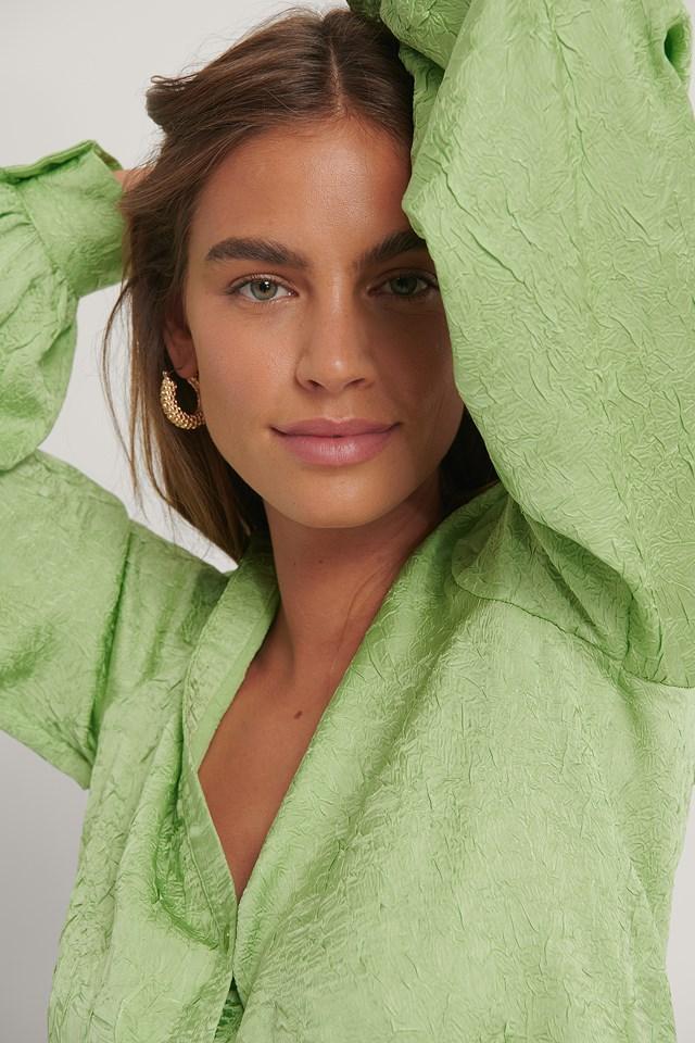 Satin Button Shirt Lime Light