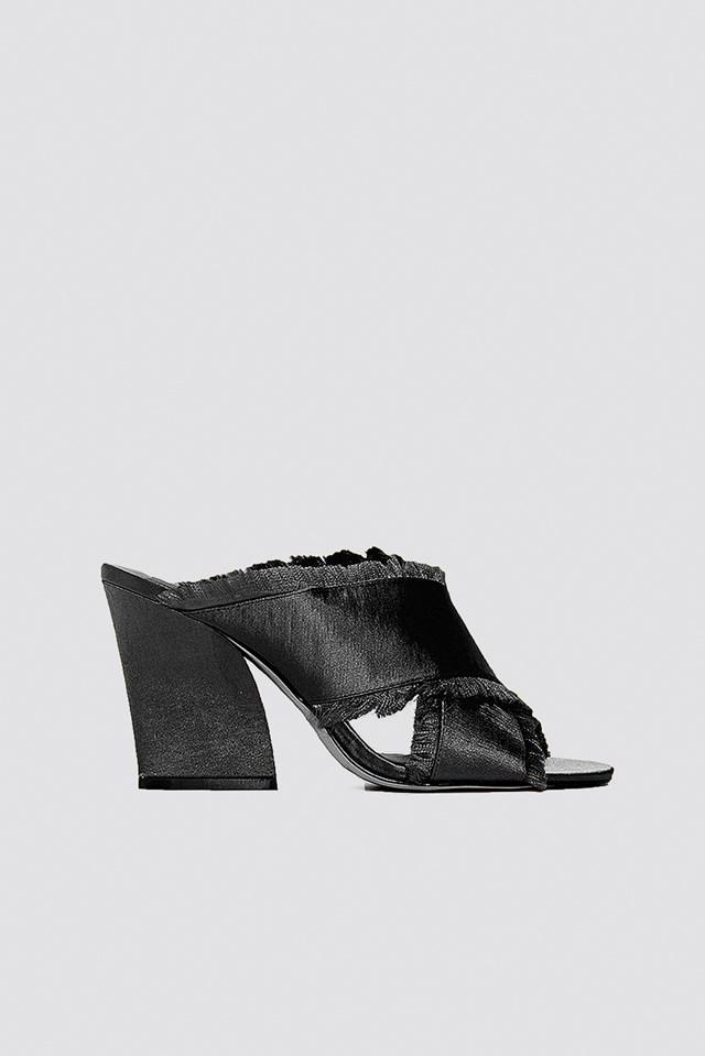 Satin Cross Mule Heels NA-KD Shoes