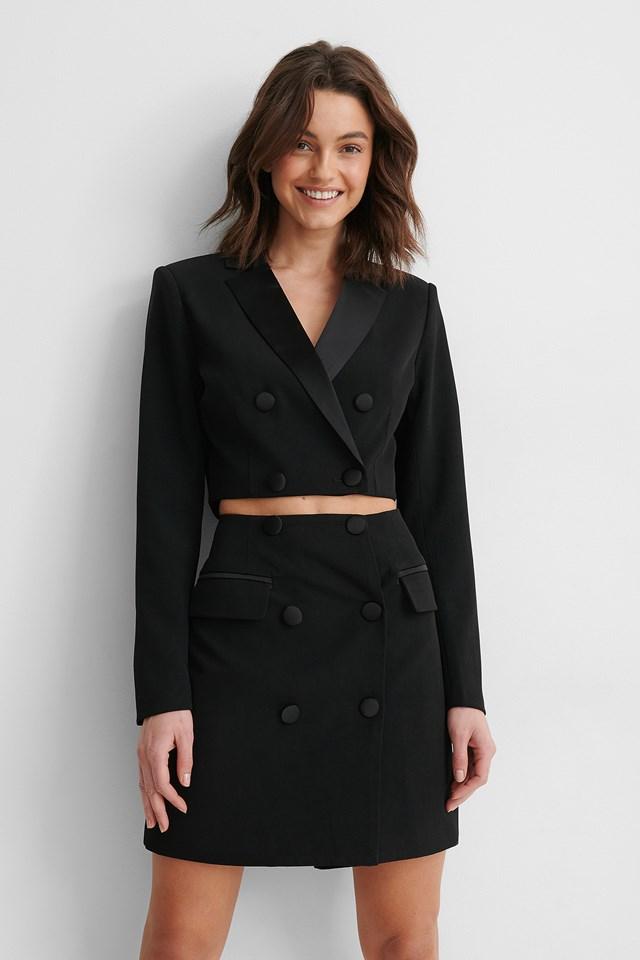 Black Satin Detail Cropped Blazer