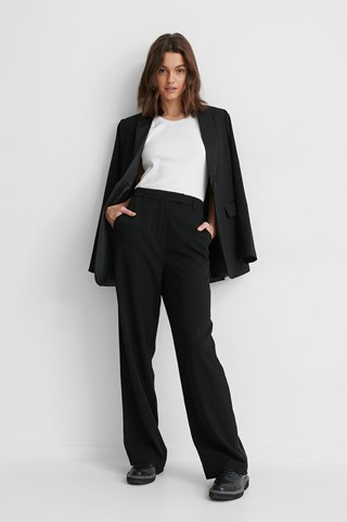 Black Satin Detail Suit Pants