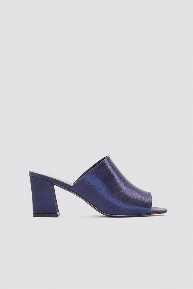 Satin Mule Heel Sandals NA-KD Shoes