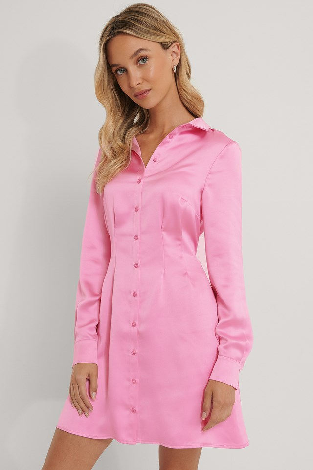 Satin Shirt Dress Pink