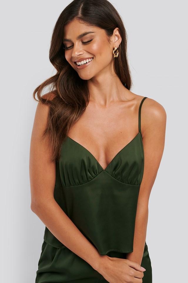 Satin Singlet Pyjamas Green