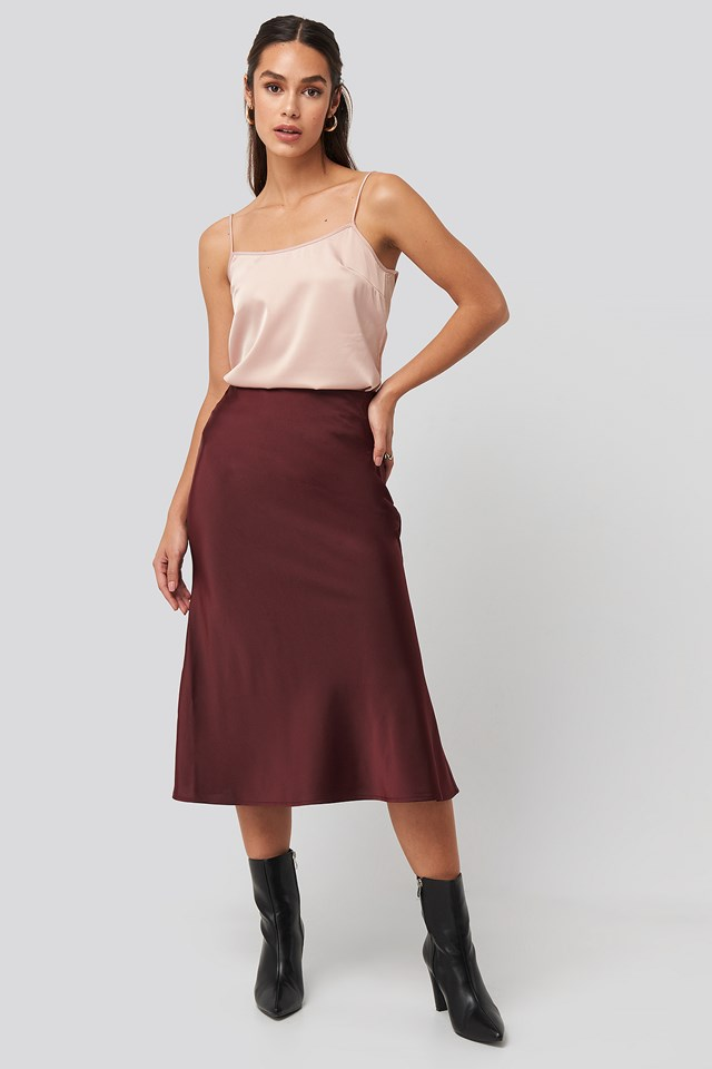Satin Skirt Burgundy