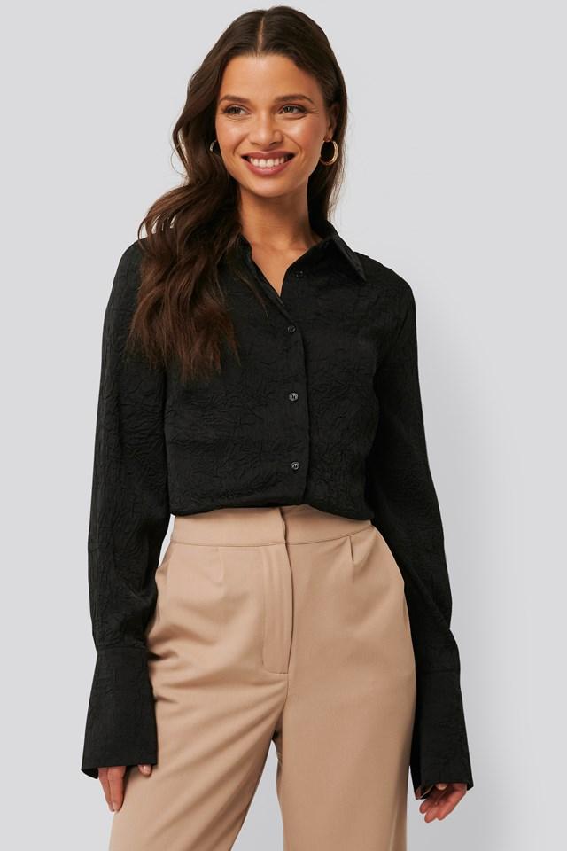 Satin Wrinkle Shirt Black
