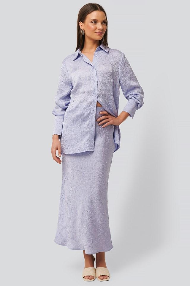 Satin Wrinkle Skirt Lilac