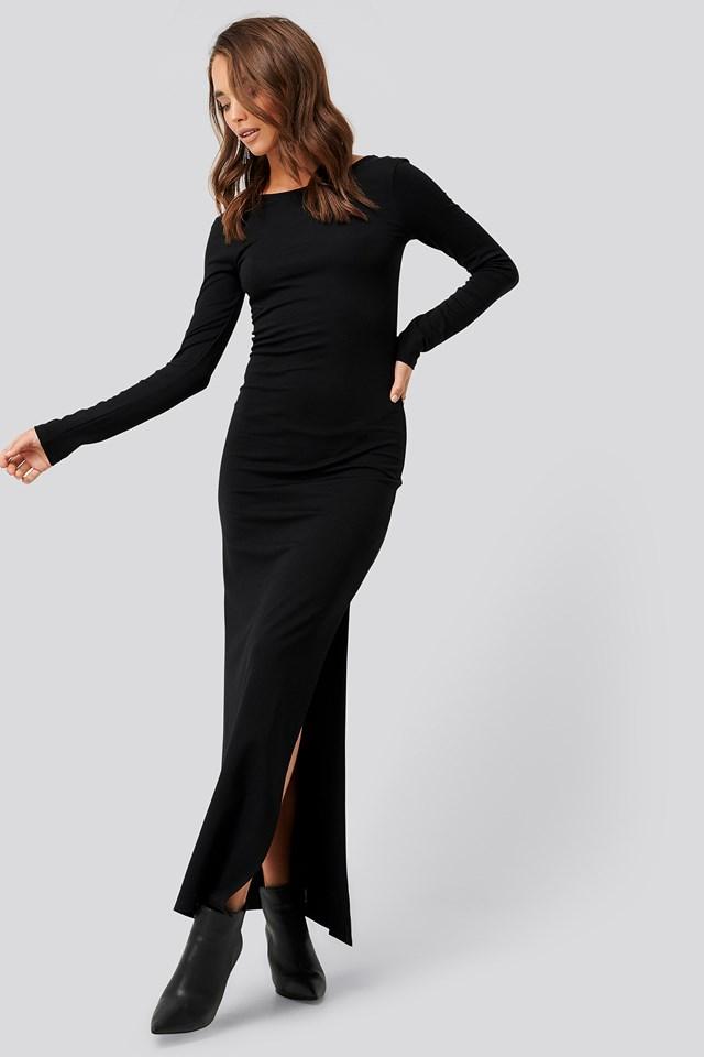 Scoop Back Long Sleeve Maxi Dress Black