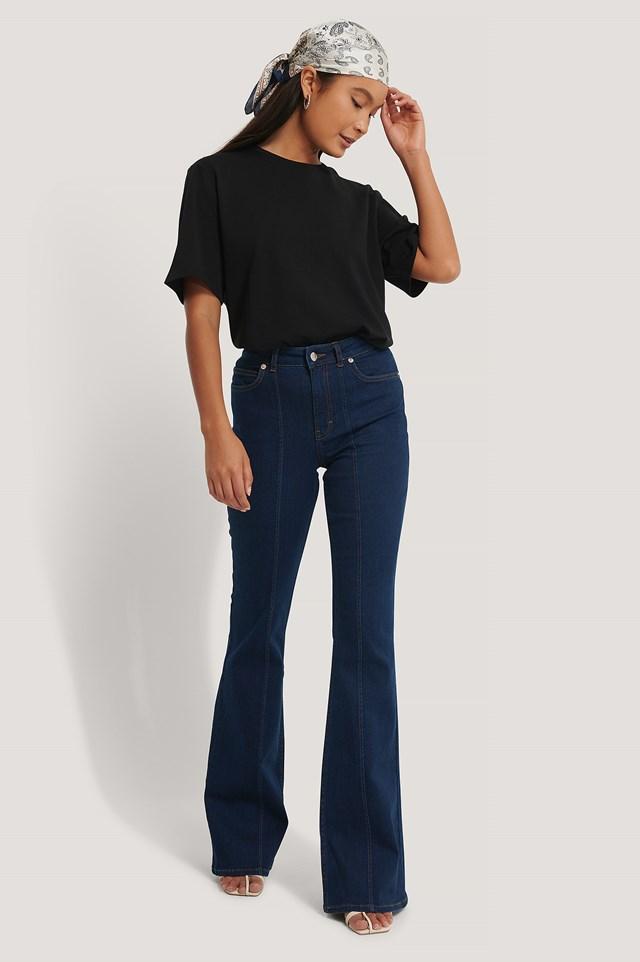Seam Detail Flare Jeans Dark Blue