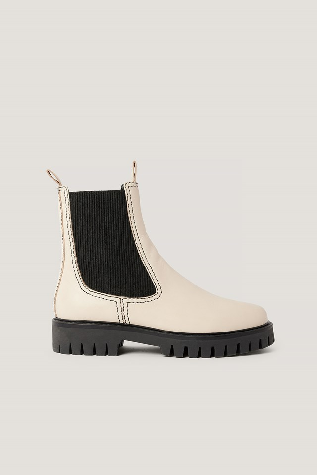 Seam Detailed Leather Chelsea Boots White