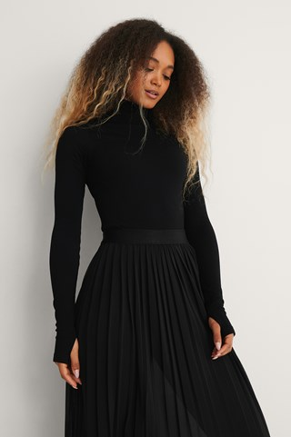 Black Recycled Seamless High Neck Top