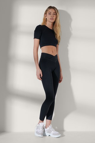 Black Seamless V Waistline Leggings