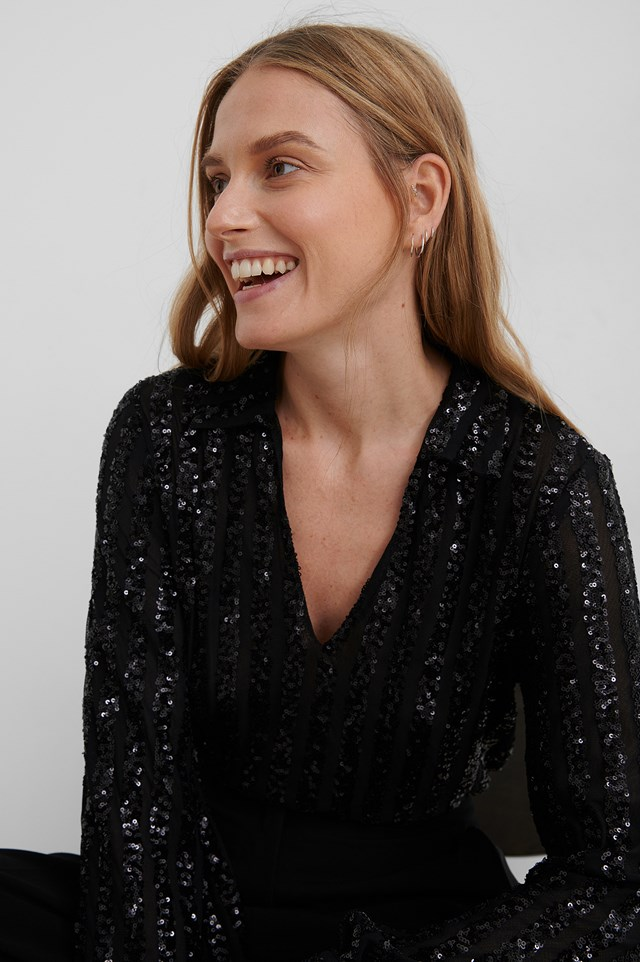 Sequin Panel Shirt Black
