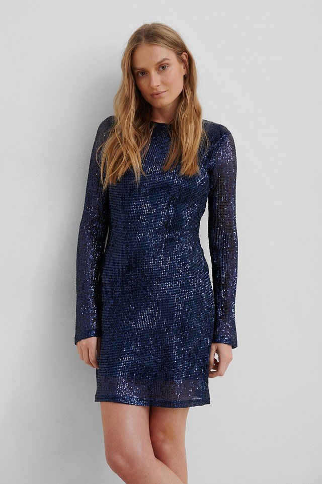 Sequin Round Neck Mini Dress Dark Blue