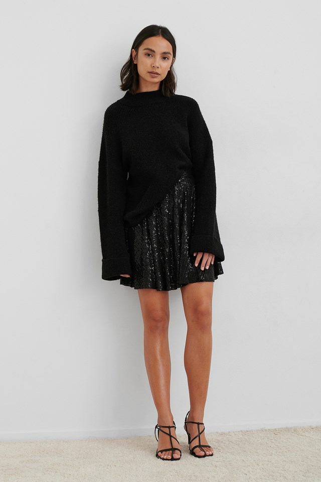 Sequin Skater Skirt Black